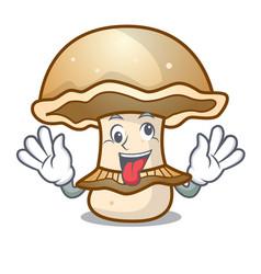 Crazy portobello mushroom mascot cartoon vector