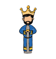 Cute cartoon wise king manger character vector
