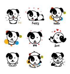 cute puppy logo set favorite pet logotype vector image