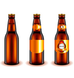 dark beer bottle design 3d realistic vector image