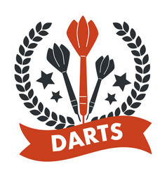 darts game banner with stars and ribbon text vector image