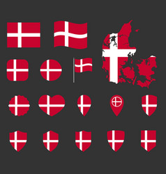 denmark flag icons set national flag kingdom vector image