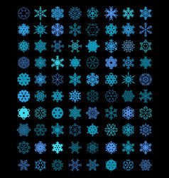 Different blue snowflakes vector