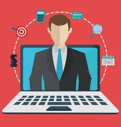 digital business assisstant on a laptop webinar vector image