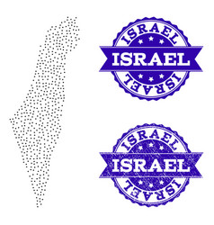 dotted map of israel and scratched stamp collage vector image