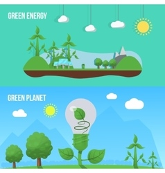 Ecology Flat Banner Set vector