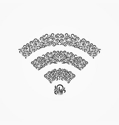 Emblem wi-fi icon decorative ornate ornaments vector