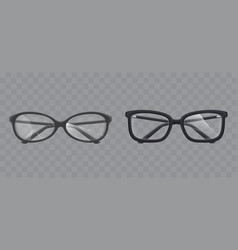 eyeglasses with shattered glass realistic vector image