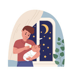 Father holding newborn baby in arms and feeding vector