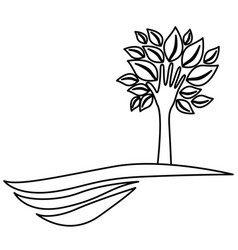 Figure tree with leaves and stem in form hand in vector