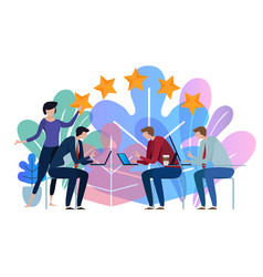 five stars business team working talking together vector image