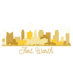 fort worth texas usa city skyline golden vector image