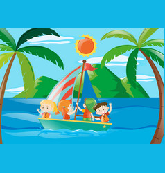 Four kids on sailboat at daytime vector
