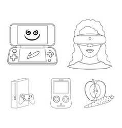 Game console and virtual reality outline icons in vector