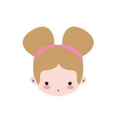 Girl head with two buns hair design vector