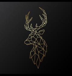 golden polygonal deer isolated vector image
