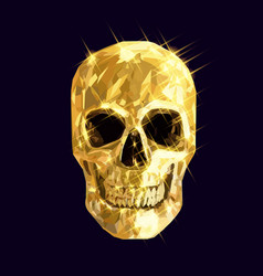 golden skull vector image