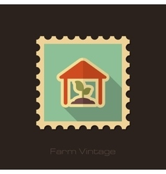Greenhouse retro flat stamp with long shadow vector