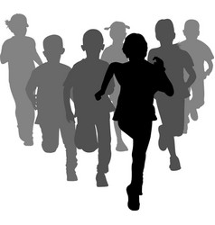 group of preschooler boys and girls running vector image