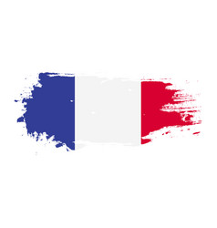 grunge brush stroke with france national flag vector image