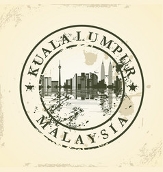 Grunge rubber stamp with kuala lumpur malaysia vector