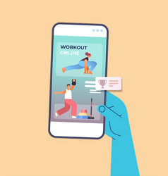 Hand using mobile fitness app people doing vector