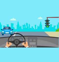 hands driving car man hands on steering vector image