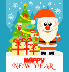 Happy new year card with funny santa claus vector