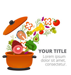 healthy vegetables cooking in kitchen pot i vector image