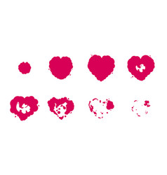 heart explosion storyboard sprite set vector image