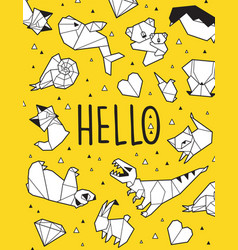 hello origami card vector image