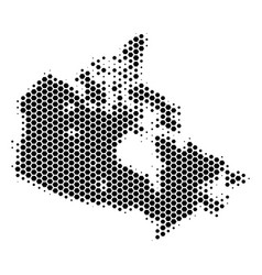 Hexagon halftone canada map vector