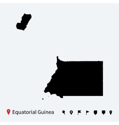 High detailed map of Equatorial Guinea with pins vector