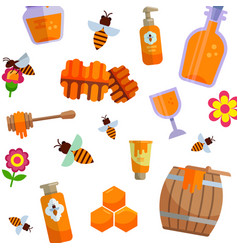 honey packaging pattern natural and farm vector image