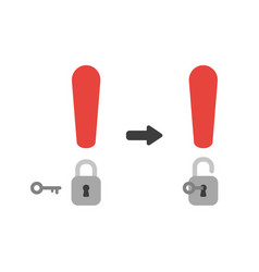 icon concept of exclamation mark with padlock and vector image
