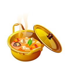 Icon soup in the pot vector