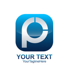 initial letter p logo template colored blue vector image
