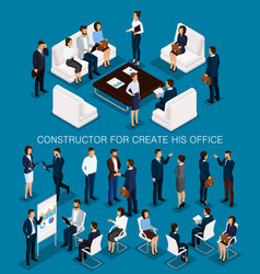 Isometric set business people for conception vector
