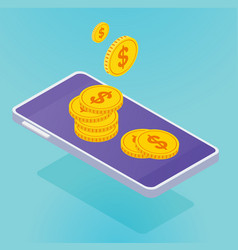 isometric smartphone with coins vector image