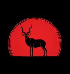 Kudu oryx big horn standing vector