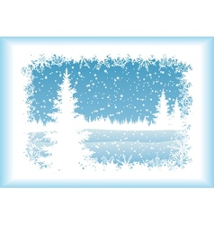 Landscape with Christmas tree silhouettes vector
