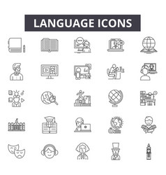 Language line icons for web and mobile design vector