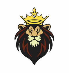 Lion king mascot with crown logo design vector