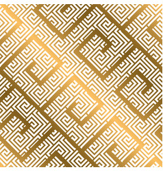 luxury gold asian meander style seamless pattern vector image