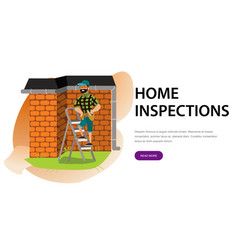 Man with tools examines house roposter cartoon vector