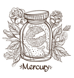mercury in a glass jar the planet of the solar vector image