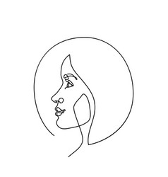 modern fashion linear female face profile in vector image