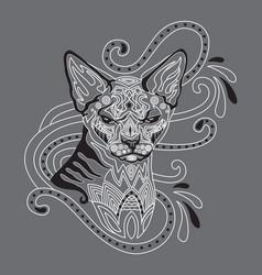 monochrome ornamental cat 8 vector image