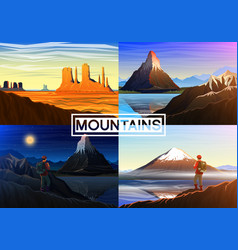 mountain everest matterhorn fuji with tourist vector image