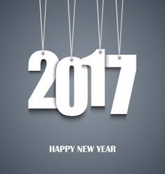 New Year card with hanging white numbers vector